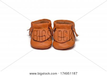 Childs Orange Booties On A White Background