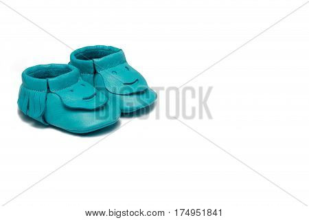 Childs Turquoise Booties On A White Background