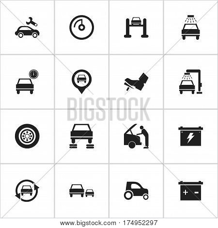 Set Of 16 Editable Vehicle Icons. Includes Symbols Such As Car Lave, Vehicle Wash, Automotive Fix And More. Can Be Used For Web, Mobile, UI And Infographic Design.