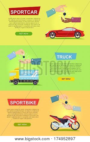 Sportcar truck sportbike banners with hands passing keys on color background. Process of buying, selling modern transportation items. E-commerce shopping in cartoon design web poster in flat style