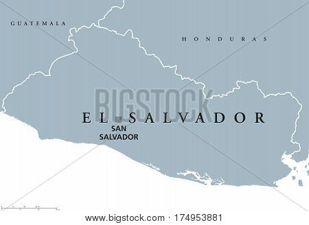 El Salvador political map with capital San Salvador, national borders and neighbors. Republic and country in Central America. Gray illustration isolated on white background. English labeling. Vector.