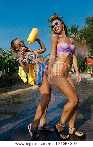 joins celebrations of the Thai New Year or Songkran in Ko Phangan