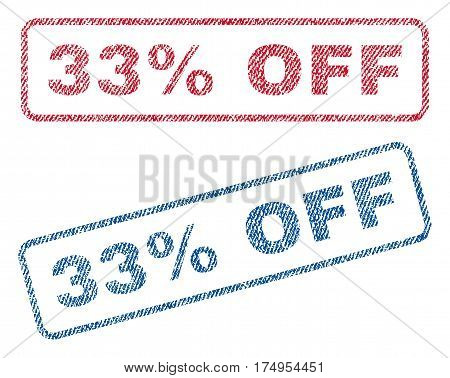 33 Percent Off text textile seal stamp watermarks. Blue red fabric vectorized texture. Vector tag inside rounded rectangular banner. Rubber emblem with fiber textile structure.