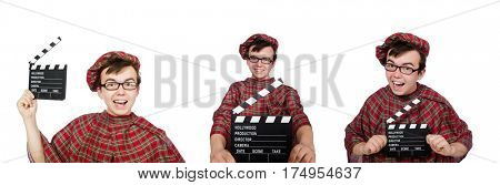 Funny scotsman with movie board on white