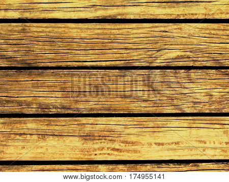 Yellow wood background. Natural wood texture with horizontal lines. Wooden background for banner. Timber texture closeup. Horizontal wooden planks of floor backdrop photo. Natural material for banner