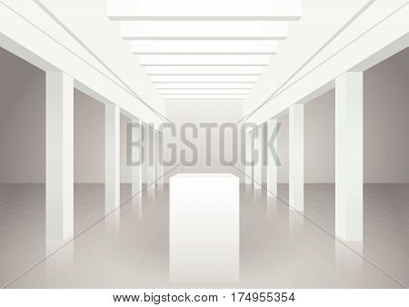 Vector 3d illustration. White interior of of not existing building with columns and beamed ceilings and top light. Symmetrical view. Stand for presentation of objects.