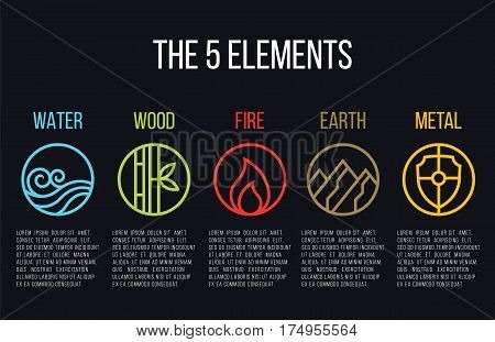 5 elements of nature circle line icon sign. Water Wood Fire Earth Metal. on dark background.