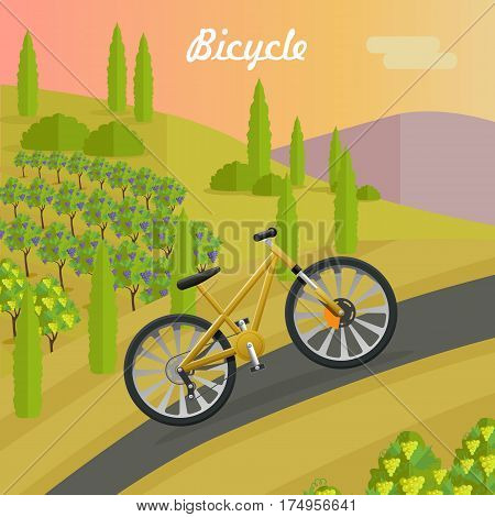 Racing bicycle on asphalt track in summer season. Sport yellow bike riding up road. Fast mean of transportation. Two-wheeled vehicle with green trees and sunset on background. Vector illustration