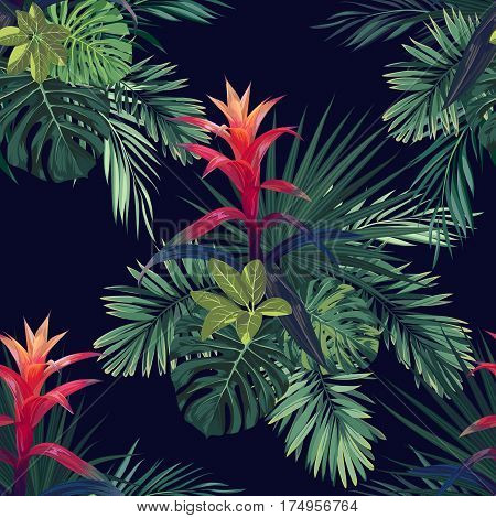 Hand drawn seamless tropical floral pattern with guzmania flowers, monstera and royal palm leaves. Exotic hawaiian fabric design. Vector illustration.