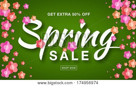 Vector Spring Sale banner with typographic calligraphic lettering text on bright green background colorful paper pink, red, orange paper flowers. Sale vector 50 percent off. Hand drawn calligraphy.