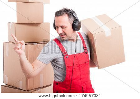 Mover Man With Headphones On Enjoying Music And Dancing