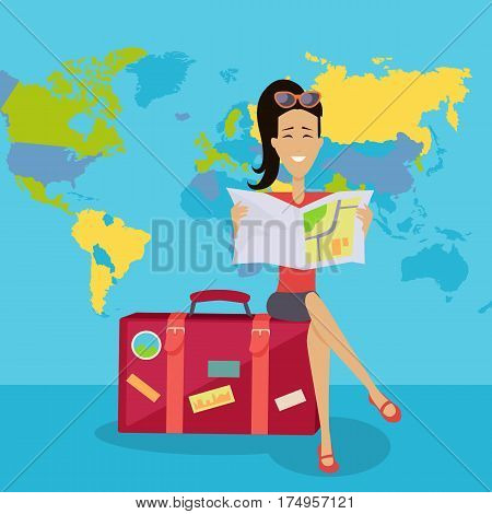 Smiling brunette woman seating on red suitcase and looking in road map. Woman on background of world map. Summer vacation concept. Traveling with baggage illustration. Flat style design.