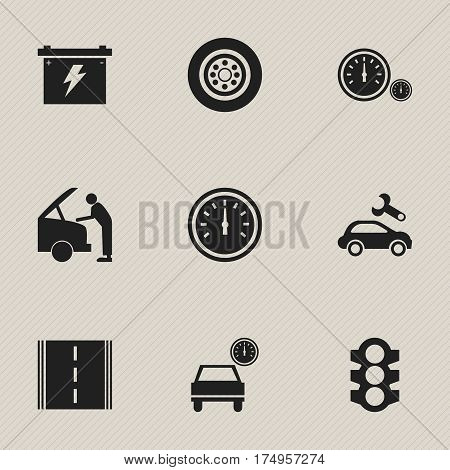 Set Of 9 Editable Traffic Icons. Includes Symbols Such As Speedometer, Automobile, Stoplight And More. Can Be Used For Web, Mobile, UI And Infographic Design.