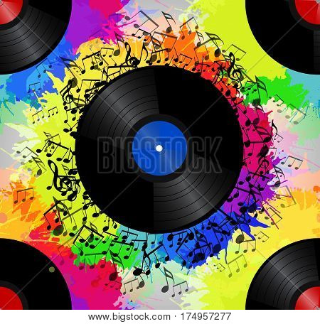 Seamless texture with a vinyl record music notes and rainbow watercolor splash. Vector musical pattern for your creativity