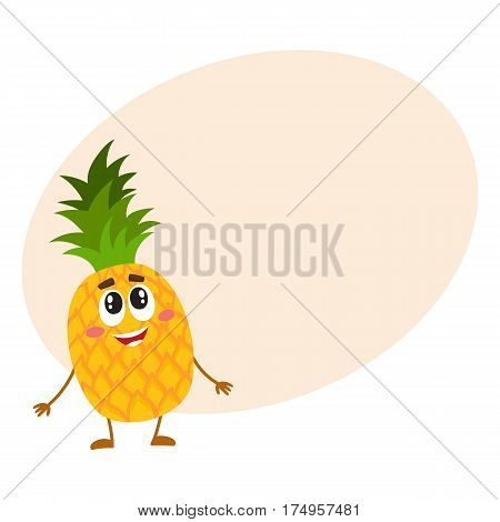Funny pineapple character standing and looking up, cartoon vector illustration with place for text. Funny pineapple character, mascot standing and looking at something above