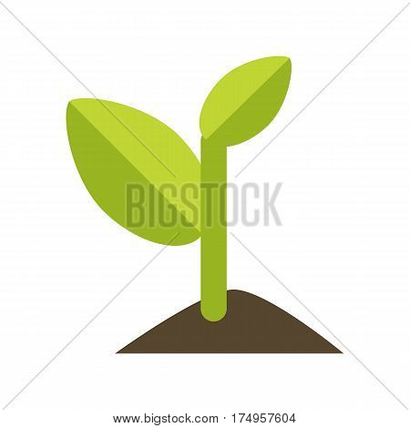 Young green sprout from the ground in flat. Arbor Day. Earth day. Ecology concept. Save the world concept. Isolated object on white background. Vector illustration.