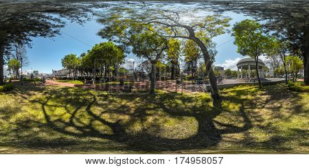 Spherical, 360 degrees, seamless panorama of the green park in the city of San Jose, Costa Rica