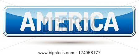 America - Abstract Beautiful Button With Text.