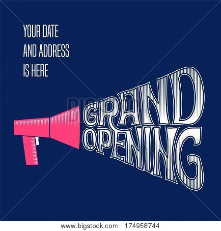 Grand opening vector banner background. Template design element with speaking-trumpet for shop opening ceremony