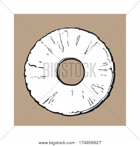 Peeled round pineapple slice with hole in the middle, top view, sketch style vector illustration isolated on brown background. Realistic hand drawing of fresh, ripe pineapple slice
