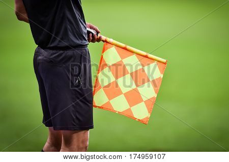 Assistant Referee During Soccer Match
