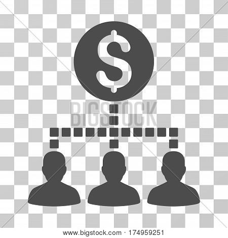 Money Recipients icon. Vector illustration style is flat iconic symbol, gray color, transparent background. Designed for web and software interfaces.