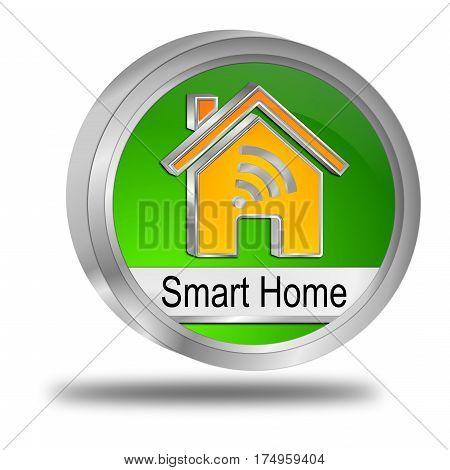 green orange Smart Home Button - 3D illustration