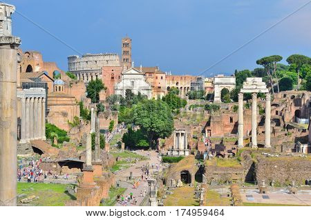 Rome Italy. View of the Roman Forum on the background of the stormy sky