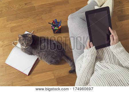 Top view of a woman sitting on the floor holding a tablet computer and working at home with planner and a cat assistant. Selective focus