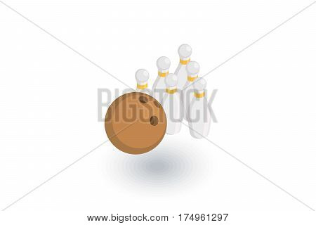 Bowling Skittles and ball isometric flat icon. 3d vector colorful illustration. Pictogram isolated on white background