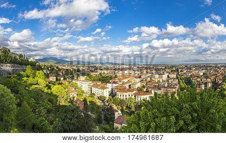 Panoramic View Of Bergamo City, Italy