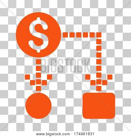 Cashflow icon. Vector illustration style is flat iconic symbol, orange color, transparent background. Designed for web and software interfaces.