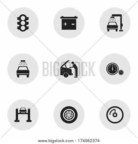 Set Of 9 Editable Traffic Icons. Includes Symbols Such As Vehicle Wash, Auto Service, Car Lave And More. Can Be Used For Web, Mobile, UI And Infographic Design.