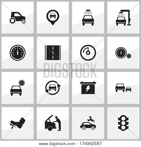 Set Of 16 Editable Car Icons. Includes Symbols Such As Stoplight, Treadle, Battery And More. Can Be Used For Web, Mobile, UI And Infographic Design.