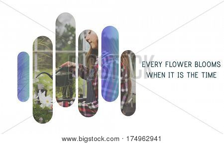 Every flower blooms when it is the time word on plants background