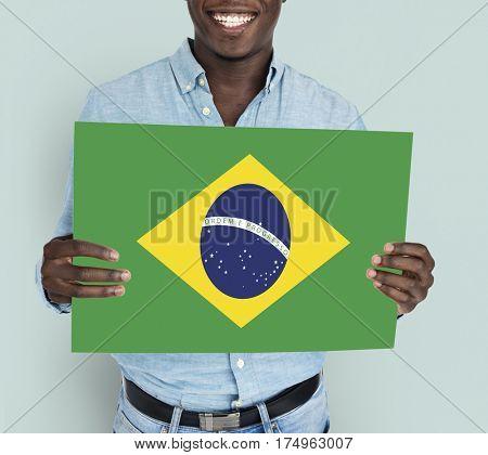 Man Hands Hold Brazil Flag Patriotism