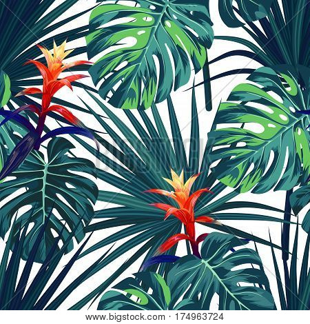 Exotic tropical background with hawaiian plants and flowers. Seamless tropical pattern with green monstera and sabal palm leaves, guzmania flowers. Vector illustration.