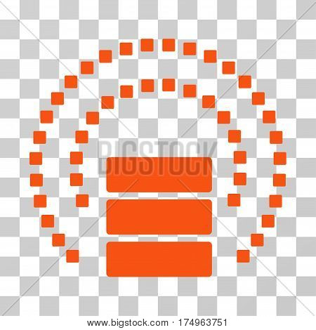 Database Sphere Shield icon. Vector illustration style is flat iconic symbol, orange color, transparent background. Designed for web and software interfaces.