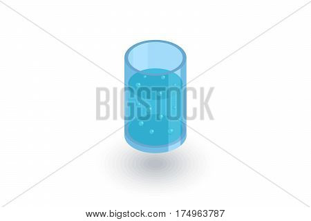 glass of water isometric flat icon. 3d vector colorful illustration. Pictogram isolated on white background