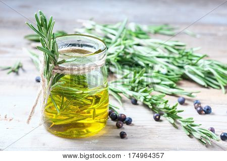 Bottle Of Extra Virgin Olive Oil With Rosemary.
