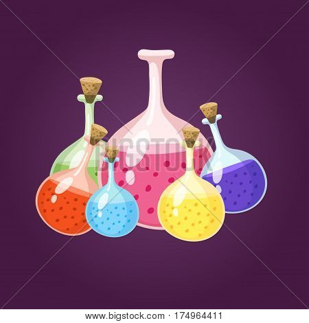 Chemical laboratory flask glassware tube liquid biotechnology analysis and medical scientific equipment chemistry lab xperiment vector illustration. Research test science glass.