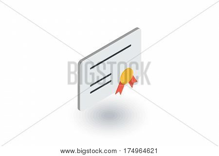 Diploma of honor isometric flat icon. 3d vector colorful illustration. Pictogram isolated on white background