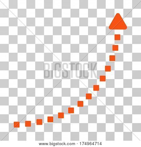 Dotted Growth Line icon. Vector illustration style is flat iconic symbol, orange color, transparent background. Designed for web and software interfaces.