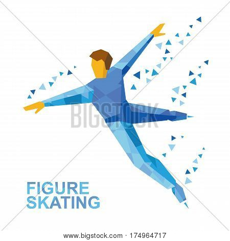 Winter Sports - Men's Single Skating. Cartoon Figure Skater Training