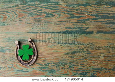 St. Patricks day lucky charms. Horesechoe and shamrock