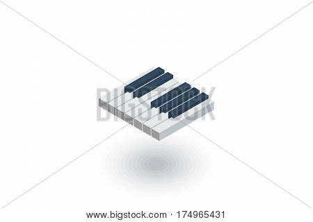 Piano keys isometric flat icon. 3d vector colorful illustration. Pictogram isolated on white background