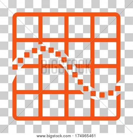 Function Chart icon. Vector illustration style is flat iconic symbol, orange color, transparent background. Designed for web and software interfaces.