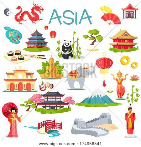 Asia collection of symbolic elements on white. Vector illustration of Great wall of China, oriental man and woman, grey elephant, special buildings, panda in bamboo sticks, high mountains, sushi set