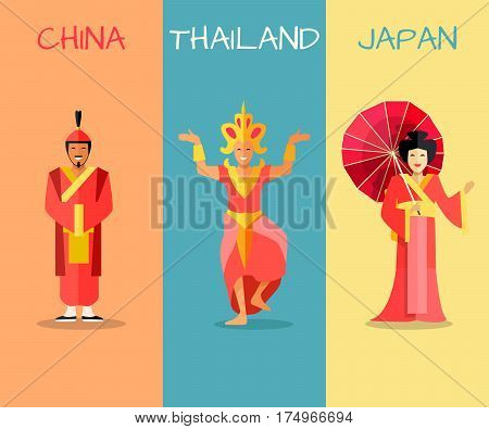 Set of asian countries banners with people in national costumes. Vertical concepts with Thailand dancer, chinese man in hanfi and geisha with paper umbrella from Japan. Oriental cultures attractions