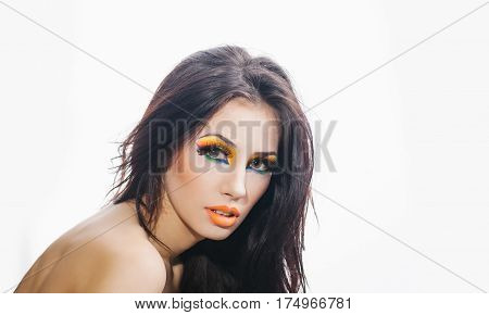 Pretty Sexy Woman With Fashionable Bright Orange Makeup